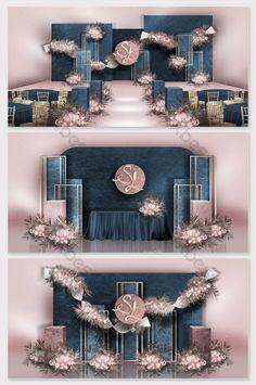 Premium blue elegant pink contrast color hand painted wedding effect map & Models Decor Wedding Backdrop Design, Wedding Stage Design, Wedding Reception Backdrop, Engagement Decorations, Outdoor Wedding Decorations, Backdrop Decorations, Wedding Designs, Decor Wedding, Chinese Wedding Decor