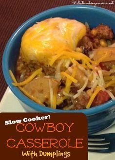 Slow Cooker Cowboy Casserole with Dumplings Recipe     whatscookingamerica.net     #cowboy #casserole #hamburger #dumplings #slowcooker #crockpot