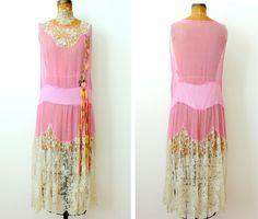 1920s pink silk chiffon dress