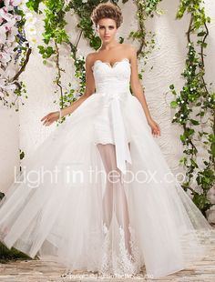 LAN TING BRIDE A-line Princess Wedding Dress - Chic & Modern Elegant & Luxurious Two-in-One Floor-length Sweetheart Tulle with Appliques 2017 - $179.99