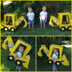 DIY Backhoe loader Halloween costumes for my twins (construction)