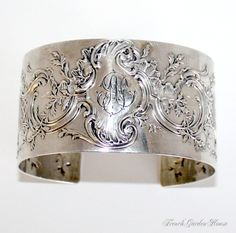 Antique French Sterling Monogrammed Cuff Bracelet