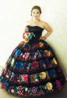 Charra China Poblana Black Quinceanera Dress #10100BK ...