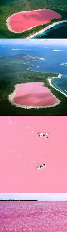 """Lac Rose"" In Senegal Looks Like A Giant Strawberry Milkshake. That's because the blood red colour is caused by high levels of salt - with some areas containing up to 40 per cent of it. Places Around The World, Oh The Places You'll Go, Places To Travel, Places To Visit, Lago Retba, Lac Rose, Beautiful World, Beautiful Places, Africa Travel"