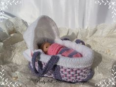 "Moses Basket 4-5"" doll-knitting pattern, crib, moses basket"