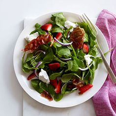 Strawberry-and-Arugula Salad With Crispy Prosciutto    The sweet-and-salty combination makes this salad a crowd-pleaser. Plus, with 8 grams of protein and 2 grams of fiber, it keeps you full on fewer calories. Arugula, like other leafy greens, is rich in antioxidants.
