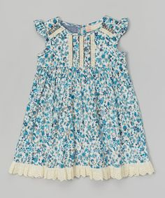 Look at this #zulilyfind! Petunia Floral Lace Angel-Sleeve Dress - Toddler by Free Planet #zulilyfinds