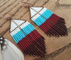 Brown & aqua beaded earrings white and maroon fringe