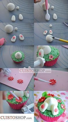 What a great Easter cupcake idea! These little bunny ears cupcakes are super easy to make and super cute! Easter Cupcakes, Easter Cookies, Easter Treats, Spring Cupcakes, Easter Bunny Cake, Mini Cakes, Cupcake Cakes, Cupcake Toppers, Decors Pate A Sucre