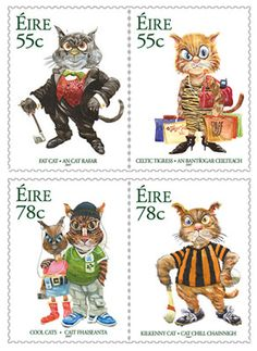Timbres irlandais :Fat Cat, Celtic Tigress, Cool Cats and Kilkenny Cat | Irish postal stamps, 2007 | art by Martyn Turner ----- a prize winner at the Grand Prix de L'Art Philatelique