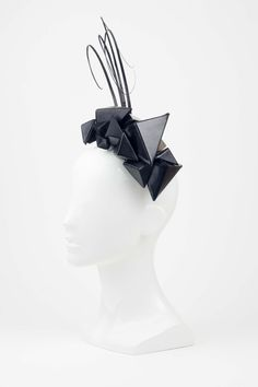 The Eternal Headonist - SOLD OUT Tri-Cluster - Black Leather 3D Triangle Headpiece with Black Quill Trim by Reny Kestel, $480.00 (http://www.theeternalheadonist.com/sold-out-tri-cluster-black-leather-3d-triangle-headpiece-with-black-quill-trim-by-reny-kestel/)