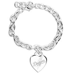 L.A. Dodgers Ladies Silver Heart Charm Bracelet