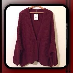 Free People Burgundy Chunky Knit Cardigan/Sweater Rich berry angora blend cardigan sweater, slouchy dolman sleeves, one button snap closure Free People Sweaters Cardigans