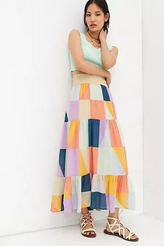 New Clothing for Women | Anthropologie Cute Skirts, 50 Fashion, Printed Skirts, New Outfits, Anthropologie, Summer Dresses, Blue, Clothes, Cotton Viscose