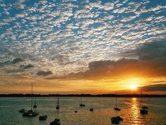 Sunset over Golfe du Morbihan, south coast of Bretagne.