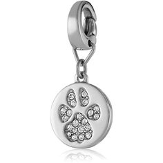 """Fossil """"Nature"""" Paw Print Charm ($24) ❤ liked on Polyvore featuring jewelry, pendants, charm pendant, fossil jewelry, fossil charms and charm jewelry"""
