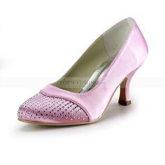 Pink Satin Mid Heel Wedding Shoes with Rhinestone Toes