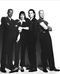 Samuel L. Jackson, John Travolta, Bruce Willis and Uma Thurman-Pulp Fiction