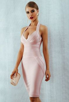 There's No Way White Sleeveless Halter V Neck Bodycon Bandage Midi Dress Sexy Dresses, Party Dresses For Women, Club Dresses, Dress Outfits, Pretty Dresses, Sexy Outfits, Hot Dress, Pink Dress, White Bandage Dress
