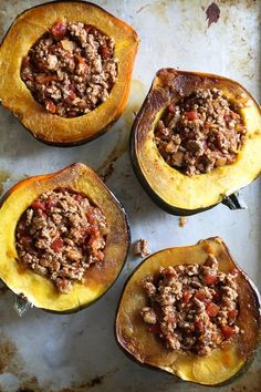 What happens when you stuff an acorn squash with turkey chili? You have an edible bowl that's not just good for you, it tastes great too! Ww Recipes, Whole 30 Recipes, Chili Recipes, Turkey Recipes, Fall Recipes, Low Carb Recipes, Cooking Recipes, Healthy Recipes, Skinnytaste Recipes