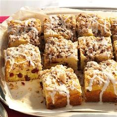 Overnight Cranberry-Eggnog Coffee Cake Recipe- Recipes  To use up leftover eggnog, cranberries and pecans from the holiday season, I added them to a classic coffee cake recipe. It goes together the night before and bakes in the morning.—Lisa Varner, El Paso, Texas