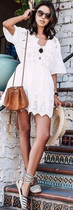 White dress & espadrilles.