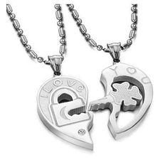 UNLOCK MY HEART: His & Hers Matching Set Open Your Heart Couple Titanium Pendant Necklace Simple Korean Love Style in a Gift Box (ONE PAIR): Jewe...