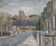 'Poutney Road, Battersea, London', oil paint on board by Robert Boyce Powter (1972). #PaintedLondon