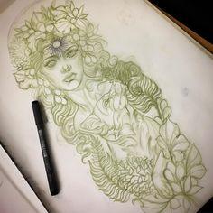 Regardez cette photo Instagram de @katabdy • 2,629 J'aime #illustration #woman #woman #girl #neotraditionel#neotraditional #neo traditionel #draw #drawing #tattoo#ink #tattooed #inked masterpiece master piece big wonderful fox flowers