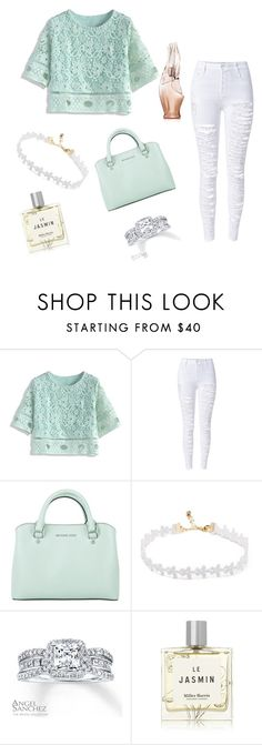 """""""minty """" by madisnowball ❤ liked on Polyvore featuring Chicwish, WithChic, Michael Kors, Angel Sanchez, Miller Harris and Donna Karan"""