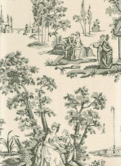 Courting Toile Wallpaper A traditional small scale toile de jouy wallpaper in black on a mottled beige background.