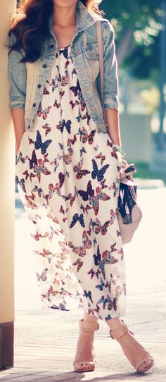 Butterfly Chiffon Maxi Dress |  Inspiration for hijab, hijab style, hijab fashion, hijab outfit