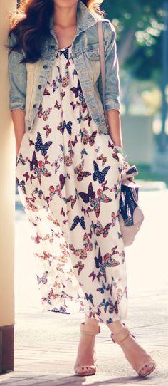 Butterfly Chiffon Maxi Dress <3