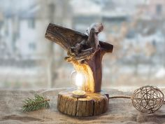 Driftwood lamp  #Driftwood #Rustic #Woodlight #Woodlog #lamps #Naturallight #Woodenlamp #Handcrafted #light #Rusticlamp #decor #Rusticdecor #Naturalwood #DeskLight #tablelamp #Etsy