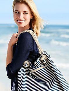 Niki Taylor pictures and photos Nautical Fashion, Nautical Style, Niki Taylor, Breton Stripes, Starfish Earrings, Mom Style, Covet Fashion, Tote Handbags, Talbots
