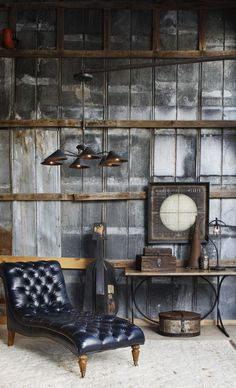 Rustic Industrial Living Room with Wooden Walls and Leather Lounge Chair Features Vintage Decor - Modern Industrial Design Furniture, Vintage Industrial Furniture, Industrial Living, Furniture Design, Modern Industrial, Industrial Basement, Industrial Chandelier, Industrial Office, Furniture Projects