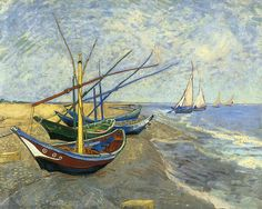 Vincent van Gogh Fishing Boats on the Beach at Saints-Maries painting is shipped worldwide,including stretched canvas and framed art.This Vincent van Gogh Fishing Boats on the Beach at Saints-Maries painting is available at custom size. Art Van, Van Gogh Art, Vincent Van Gogh, Van Gogh Museum, Art Museum, Desenhos Van Gogh, Van Gogh Pinturas, Beach Canvas, Canvas Art