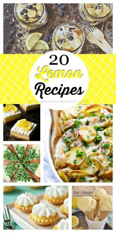 20 delicious sweet and savory lemon recipes for any occasion. If you love lemon, you will love these yummy lemon recipes. Lemon Desserts, Lemon Recipes, Fruit Recipes, New Recipes, Summer Recipes, Dessert Recipes, Delicious Desserts, Cooking Recipes, Yummy Food