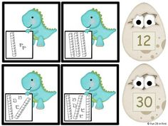 FREE set of matching cards from Fun 2B in First: covers place value for numbers up to two digits using tens and ones blocks. The base ten blocks are pictured on dinosaur cards and the numbers are on the eggs in standard form.