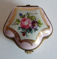 Antique Hand Painted Limoges Trinket Pill Box Rose Decorated