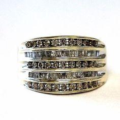 14k yellow gold .93ct womens diamond anniversary ring wide band 8.3g estate I1 H