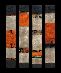 Canyon Walls: Talking Sticks by Kara Young. Lively hues of tangerine and coral dance with serene shades of slate, creating a dramatic interplay of color and light. A great way to bring dimension and color to your walls.