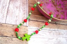The holidays are coming! Be reasy with this green and red cross necklace https://www.etsy.com/listing/250217474/sideways-cross-necklace-christmas