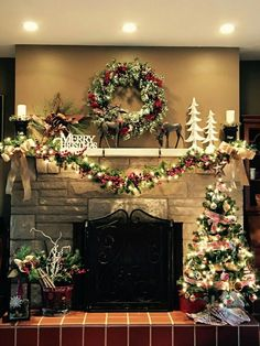 500 Christmas Fireplace Decorations Ideas In 2020 Christmas Fireplace Christmas Mantels Christmas Mantle