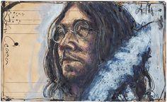 """John Lennon"" 21 x 34,5 cm, Federzeichnung, Aquarell, Farbstift 2017"