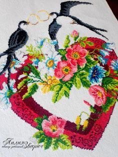 """Купить Свадебный рушник """" Ласточки"""" - разноцветный, свадебные аксессуары, свадебный рушник, рушник на свадьбу"""
