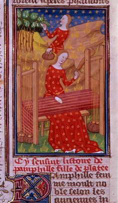 Gathering silkworm cocoons and weaving Image of an item from the British Library Catalogue of Illuminated Manuscripts Royal 16 G V