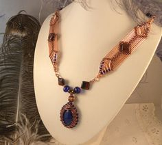 Copper Necklace with Lapis Lazuli and Red Tiger Eye by talpal2
