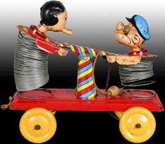 Linemar Tin-Figures Popeye & Olive Oyl Slinky Hand Car Toy Pull toy,