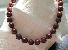 Coppery red freshwater pearl necklace, matching earrings, by Ann Case, WiredWithLoveJewelry